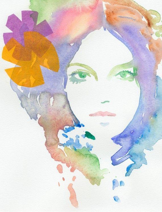Love these watercolors.. so bold and beautiful! I want a set!  Watercolor Fashion Illustration Print  Biba by silverridgestudio, $35.00