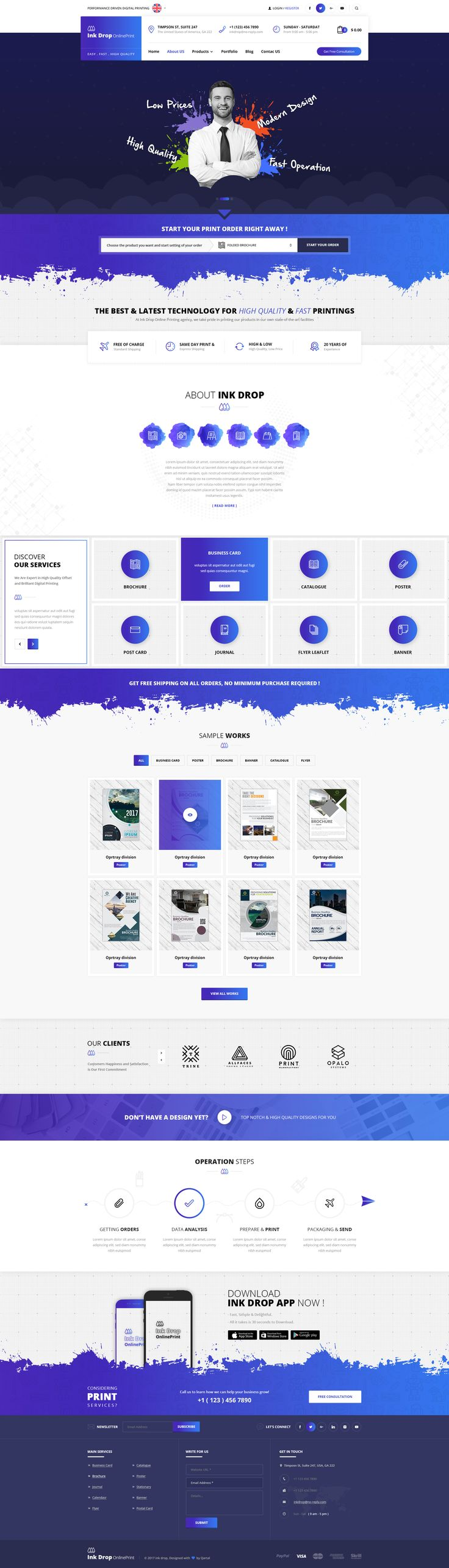 Ink Drop - Online Printing Platform PSD Template #online print #print #print services • Download ➝ https://themeforest.net/item/ink-drop-online-printing-platform-psd-template/20503483?ref=pxcr