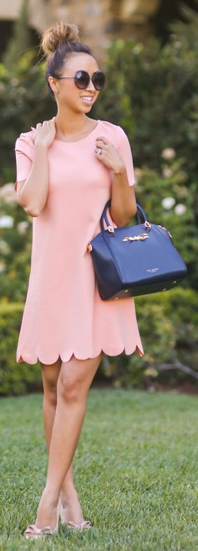 Peach And Navy Outfit Idea