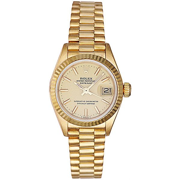 Pre-Owned Rolex Ladies Datejust President Watch 26mm 18K Yellow Gold... ($6,499) ❤ liked on Polyvore featuring jewelry, watches, accessories, champagne, 18 karat gold watches, bezel watches, 18k watches, gold jewelry and 18k gold watches
