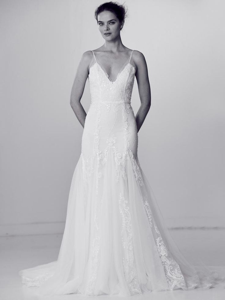 Spaghetti Strap Crystal Embellished Wedding Dress | Alyne by Rita Vinieris Spring 2018 |  http://trib.al/ZQSQQq7