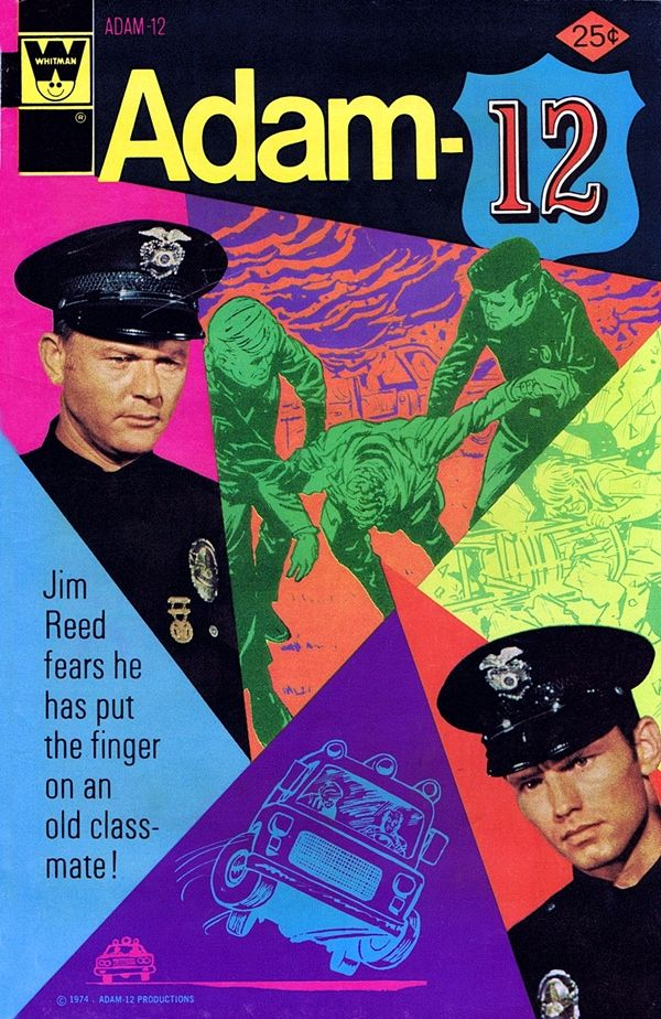 Cover art for Adam-12 issue no. 6, based on the American television police drama of the same name as aired on NBC, featuring the likenesses of actors Martin Milner and Kent McCord, published by Gold Key/Whitman, United States, 1974, artist unknown.