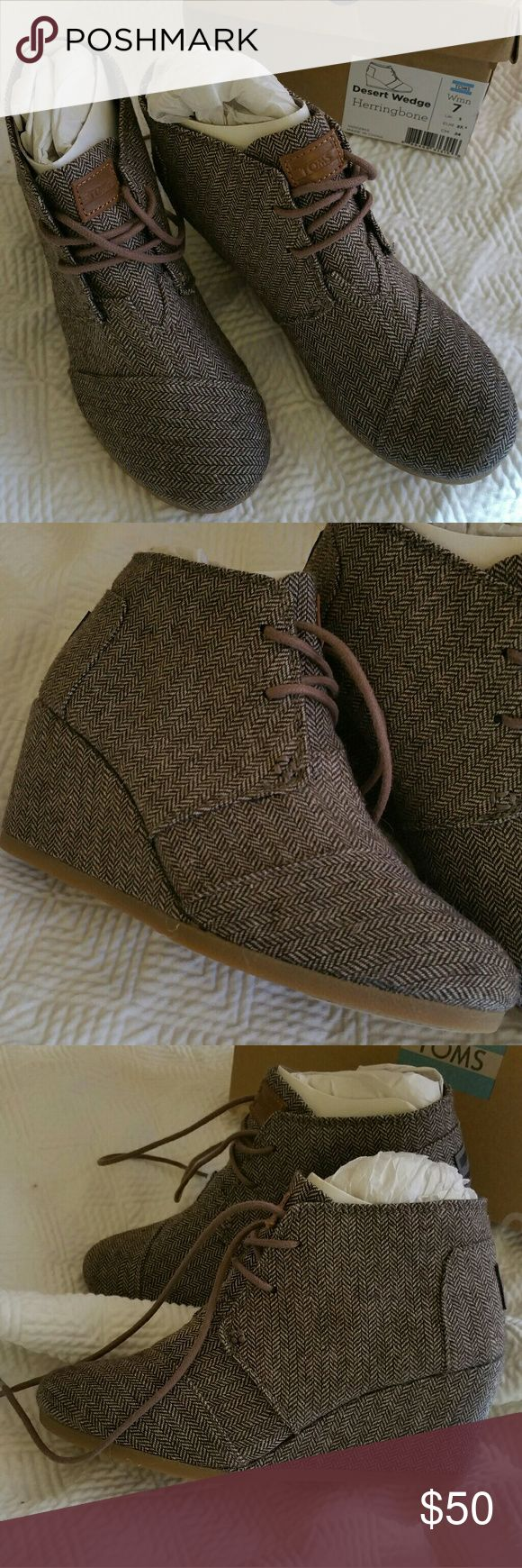 TOMS Desert Wedge Brown Herringbone Booties 7M New TOMS Brown Herringbone 2.5 in Wedge Booties with box! Great for jeans or with tights for winter! Super comfy and perfect for winter! TOMS Shoes Ankle Boots & Booties