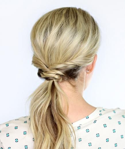 Weaved Ponytail: This elegant take on the traditional low pony adds a little sophistication and fun to a hairstyle more often reserved for casual days. No need to fuss with hair straighteners in the morning—this will disguise even the worst case of bedhead.