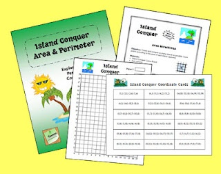 "Island Conquer Area & Perimeter freebie - students plot rectangles on a coordinate grid and find the area or perimeter of islands they ""conquer"" - great test review math game!"