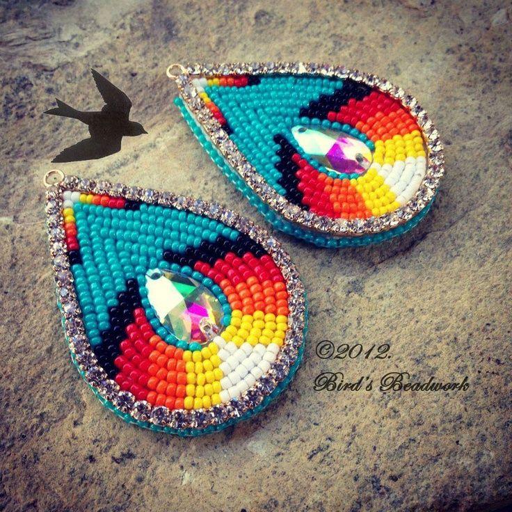 Cherokee Beadwork Beaded Bling Earrings Birds Beadwork