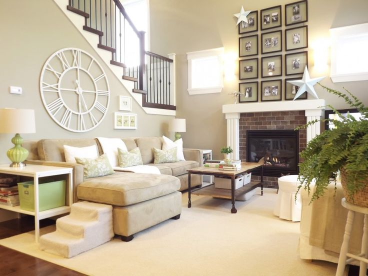 Living Room Brown Iron Stair Round White Modern Wall