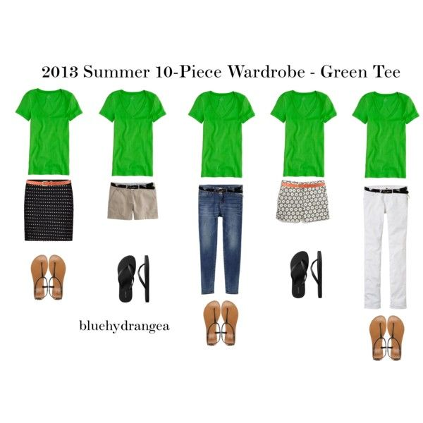 """Green, Black, Nude, White, Jeans Outfit """"Summer Wardrobe - Green Tee"""" by bluehydrangea on Polyvore"""