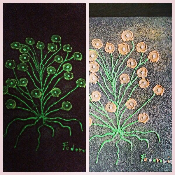 Future Flower Glowing in the dark + Acrylic on Canvas