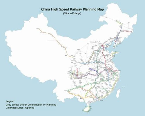Current and Proposed High-Speed Rail Lines in China as of January 2017. Quelle: travelchinaguide.com