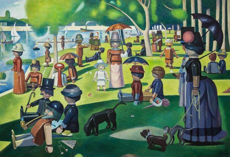 Un peintre recrée les tableaux les plus célèbres avec des Playmobils - Un dimanche a la grand jatte, Seurat