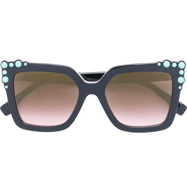 Fendi Eyewear studded square-frame sunglasses (£325) ❤ liked on Polyvore featuring accessories, eyewear, sunglasses, black, engraved glasses, gradient glasses, gradient sunglasses, square glasses and studded glasses