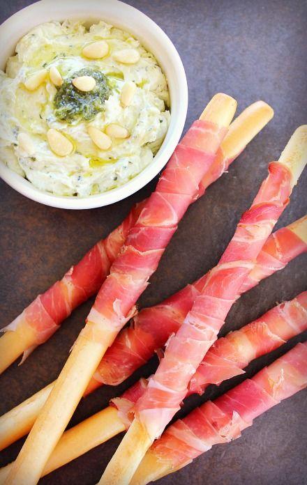 Prosciutto Wrapped Grissini Sticks with Creamy Pesto Recipe