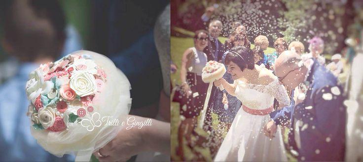 Matrimonio originale con bouquet sposa alternativo rosa, azzurro e bianco. www.trilliegingilli.com