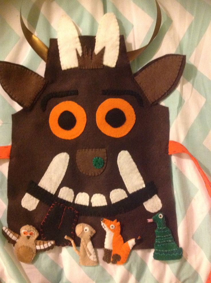 Felt Gruffalo costume with mouse, fox, owl and snake finger puppets, home made World Book Day costume