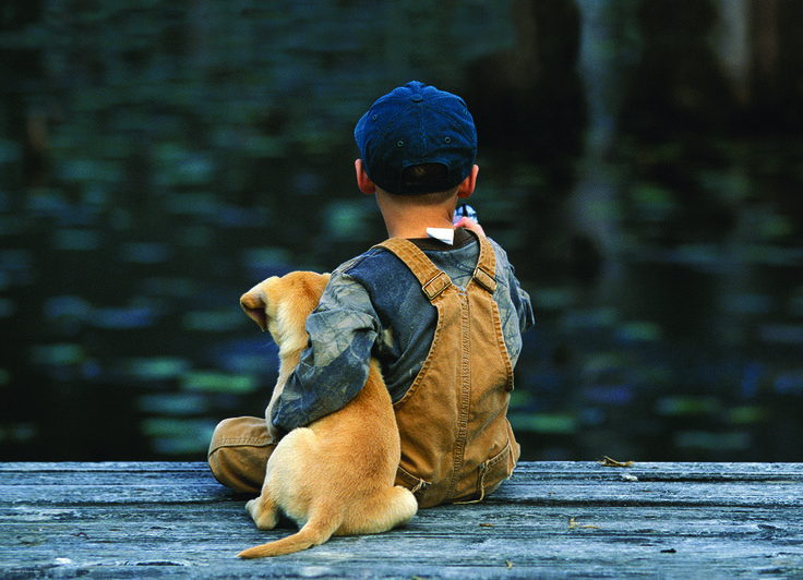 Boy's Best Friend 300-Piece Puzzle. A boy and his dog sit on a log and spend away the afternoon.