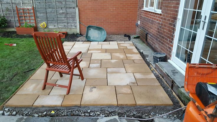 Completed Kelkay Abbey paving kit, plus a few extra.  Not bad considering I have no experience laying paving slabs.