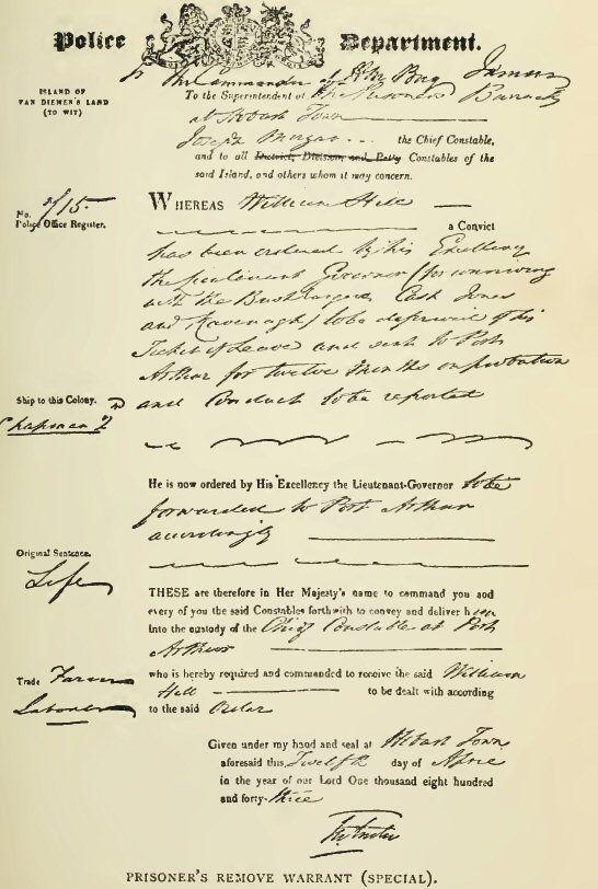Prisoner's Removal Warrant 1843