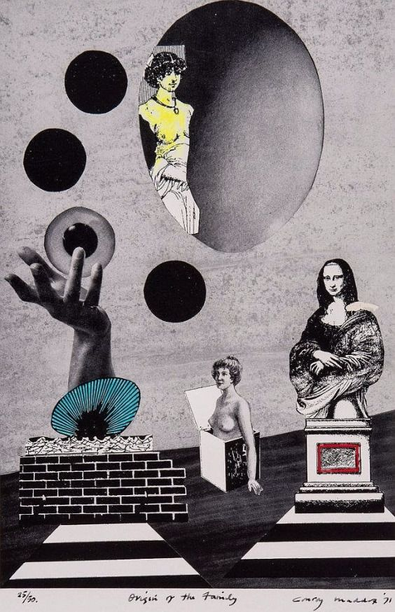 Conroy Maddox (1912-200)- Origin of the Family and Keeper of the Arsenal , collage with hand-colouring, 1940-71