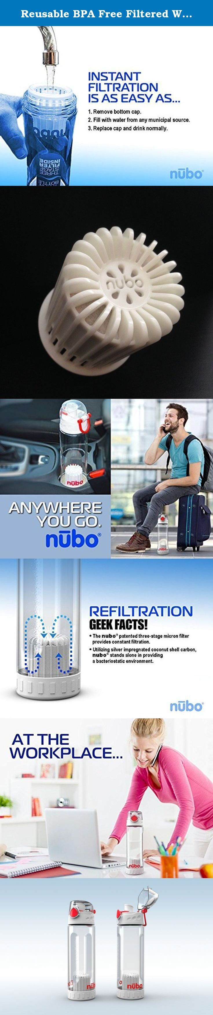 Reusable BPA Free Filtered Water Bottle Twin Pack. These two Nubo Bottles are unique,patented, environmentally conscious and economically practical alternative to single use bottled water. Nubo filtered water bottle filters tap water and creates the best tasting, most pure water you've ever experienced! BPA free bottle and ergonomic, these convenient bottles will fit in your car holder and are top rack dishwasher safe. With both ends of this portable water filter bottle removed you will...