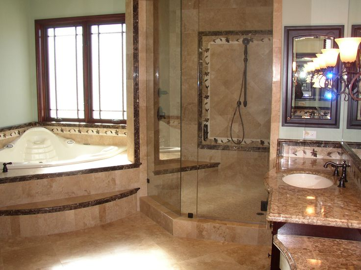 Photos Of African Inspired Master Bathroom with Japanese Soaking Tub Shower Combo Design