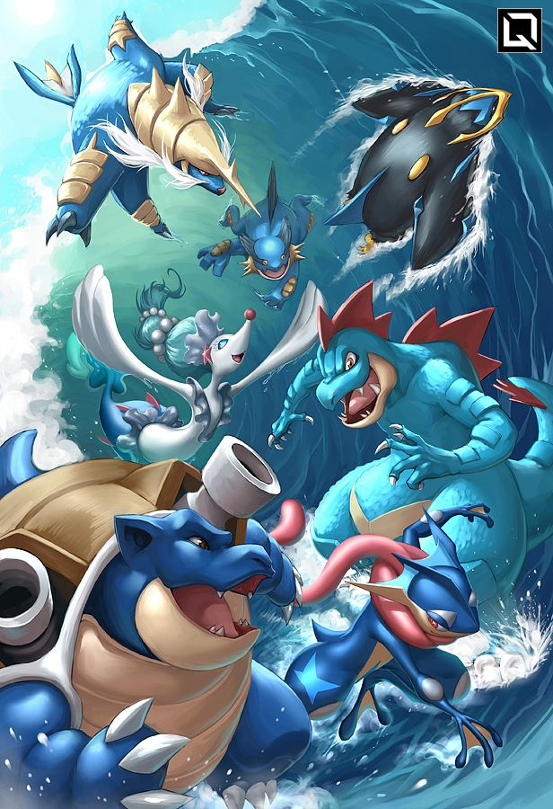 Water starters, second in my series. I said I tend to choose fire, my exceptions were Feraligatr and Empoleon. :d Edit: Now with Gen 6 & 7!
