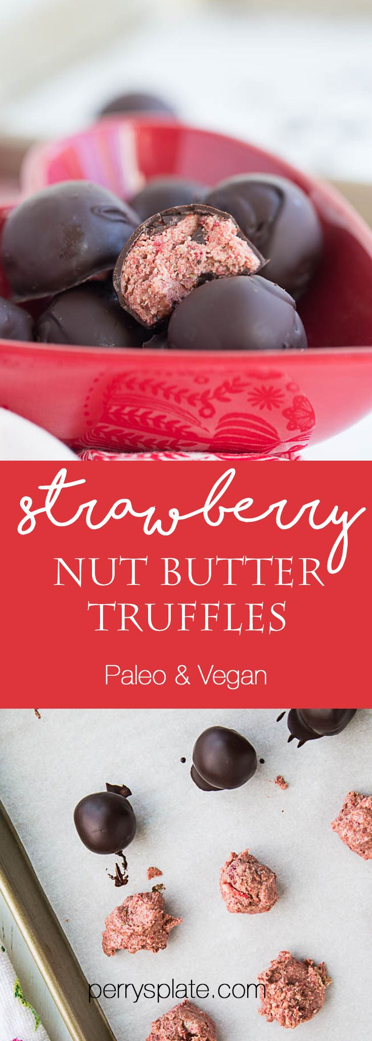 Strawberry Nut Butter Truffles   paleo recipes   paleo dessert   nut butter recipes   Valentine's Day treats   perrysplate.com
