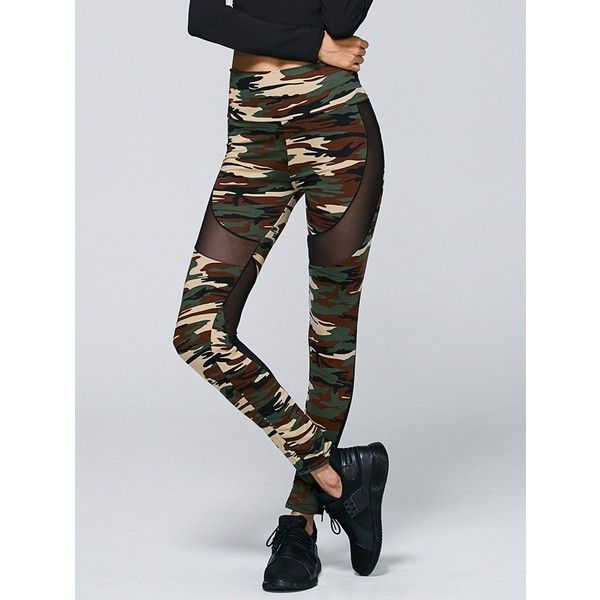 Mesh Panel Camo Print Active Leggings ($8.64) ❤ liked on Polyvore featuring activewear and activewear pants