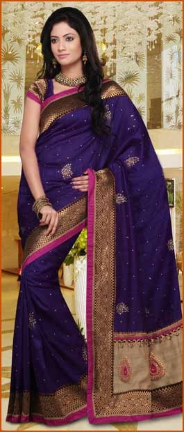 #Purple Art Ghitcha #Silk #Saree With Blouse @ $117.71