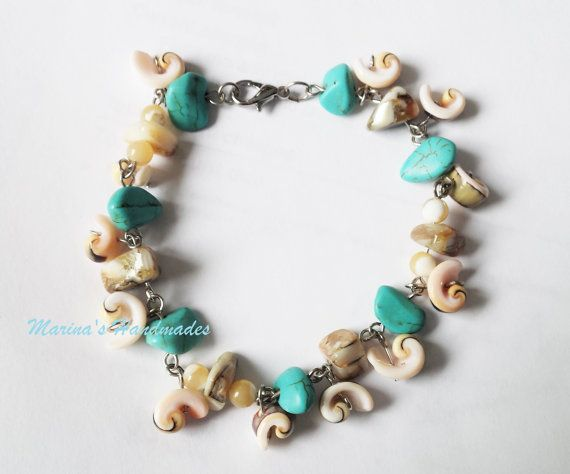 Chain and link Shell bracelet turquoise and shell bracelet