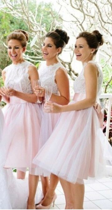 Cute bridesmaid dresses - I love the length - it's short but the girls don't need to worry about a sudden breeze lifting their skirts to embarrassing heights!