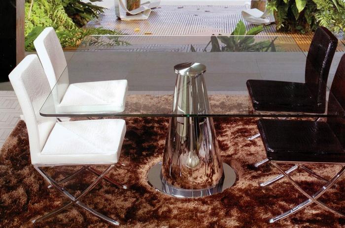 Mesa de comedor cuadrada de cristal con pata central de for Mesa comedor pata central