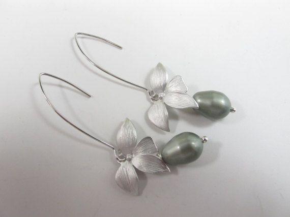 Olivino verde salvia pendientes de perlas plata flor salvia de