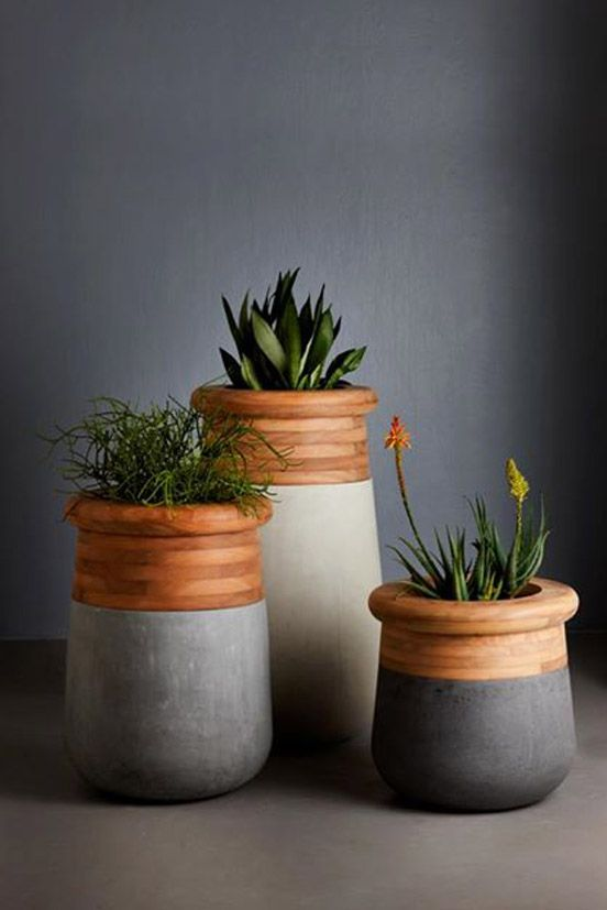 Beautiful Wood and Concrete planter by Indigenus Planters
