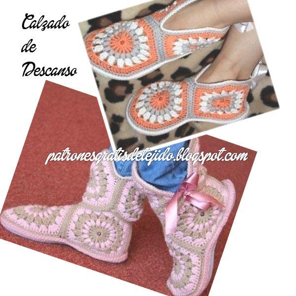 Crochet y Dos agujas: Cómo hacer calzado de descanso con grannys hexagon...