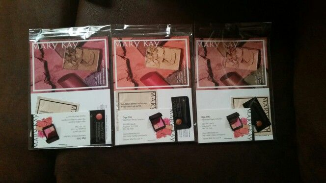 Mary Kay Samples I made to pass out! Feel free to borrow the idea MK ladies. :) I used resealable cello bags, sample color cards, our primer sunscreen sample, a sample lip gloss and finally I stapled a business card to the sample color card. :) good luck to you all. Blessings. ♡