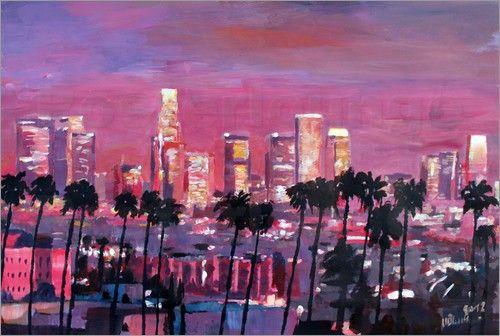Los Angeles Goldene Skyline Bilder: Poster von M. Bleichner bei Posterlounge.de