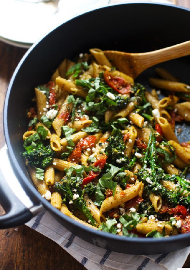 baby broccoli, oven roasted tomatoes, pesto, fresh lemon, feta, and basil.