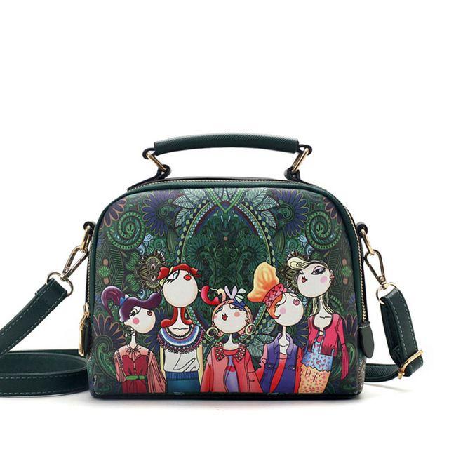Limited Offer $14.79, Buy YQYDER 2017 designer luxury brand high quality PU leather ladies ladies green cartoon handbag shoulder bag female handbag
