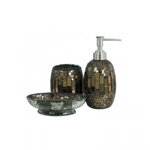 Mosaic Bathroom Accessory Set In Brown