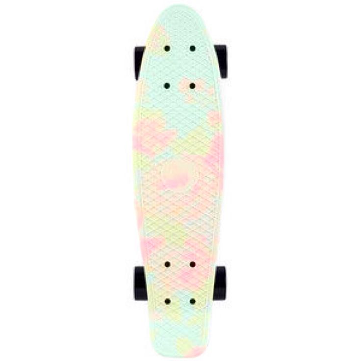 floral pastel green mint pink orange cute pennyboard black wheels penny board