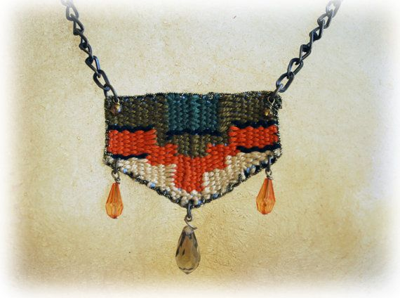 cotton handwoven necklace/ boho jewelry/ hippie fashion/ ethnic/ bohemian/ gift/ greek jewelry/ One-of-a-kind