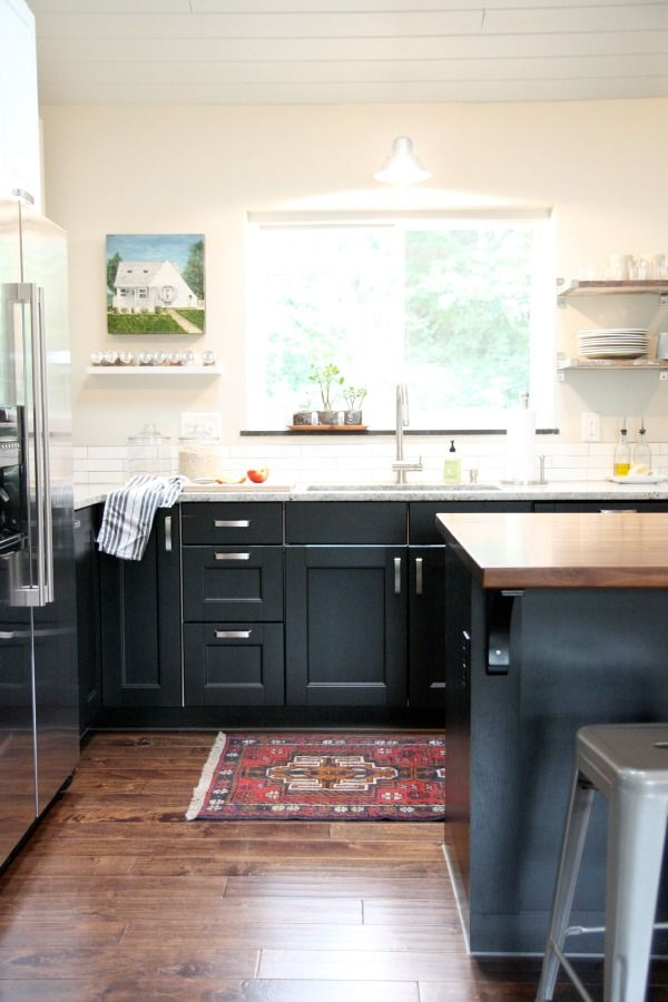 Ikea Kitchen Rug Best Rugs For Planked Ceiling Open Shelving Wood Floors White Walls Dark Cabinets Decorate Pinterest And