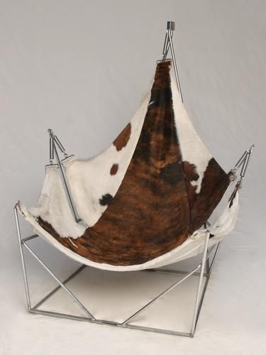 Anonymous; Chromed Metal And Cow Hide Sling Chair, C1970.