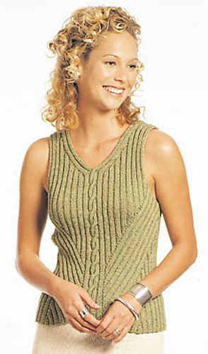 Free knitting pattern for sleeveless top with bias ribs and center cable detail designed by Berroco Design Team. Small, Medium, Large