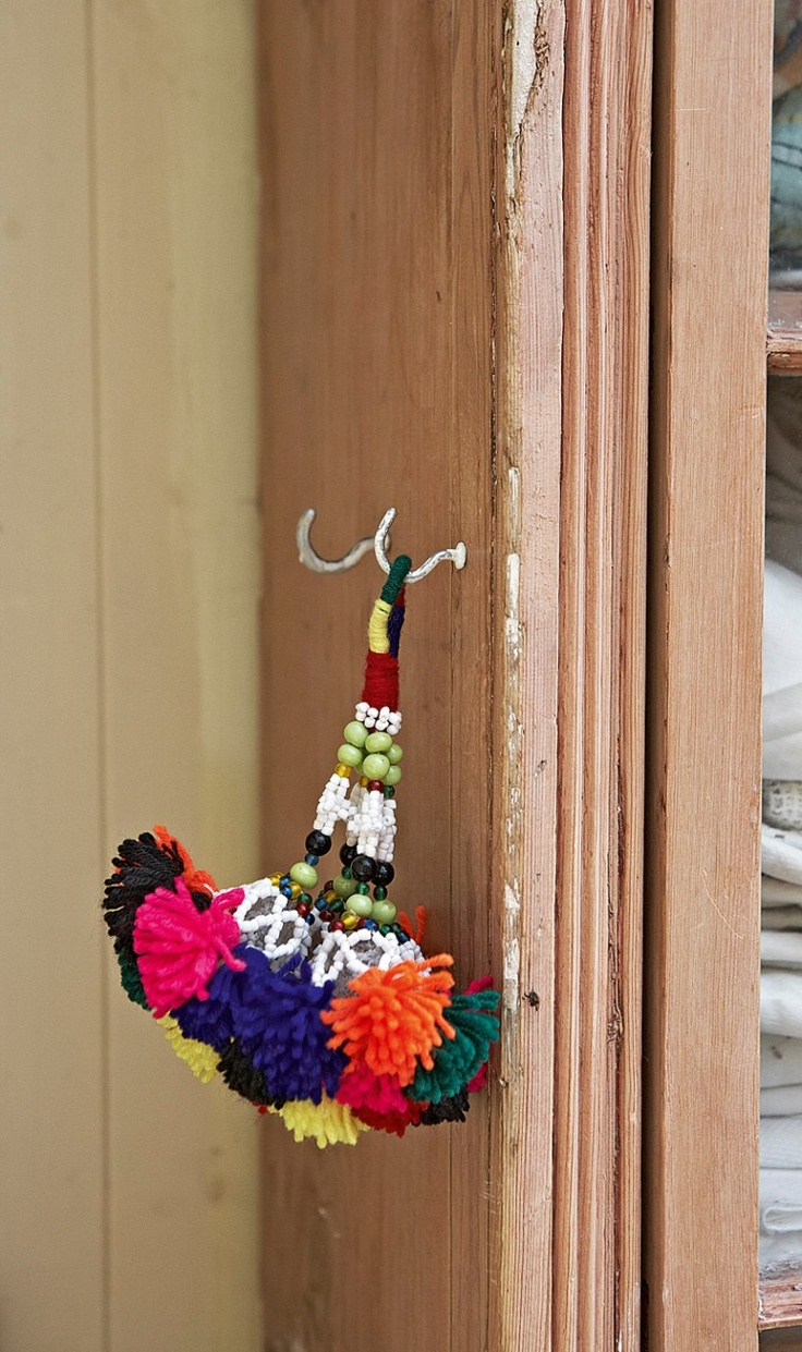 Door Knob Decorative Beadwork And Wool Hanging Tassel
