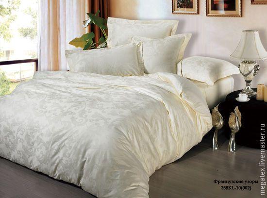 Купить сатин-жаккард премиум Французские узоры (шампань) - хлопок, ткани для постельного, для постельного