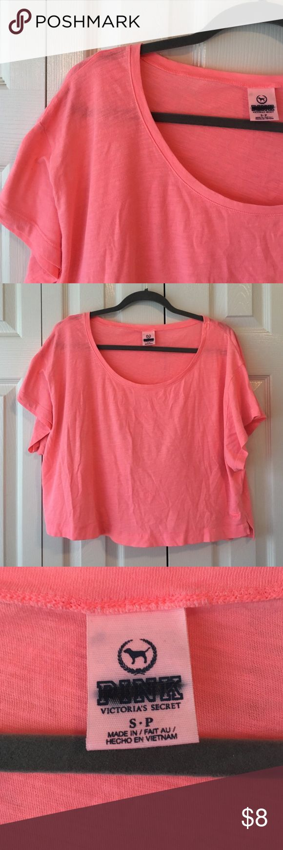 ❣BOGO❣ VS PINK Boxy Crop Top Small neon coral boxy crop tee (from the outlet so label is blacked out). PINK Victoria's Secret Tops Tees - Short Sleeve