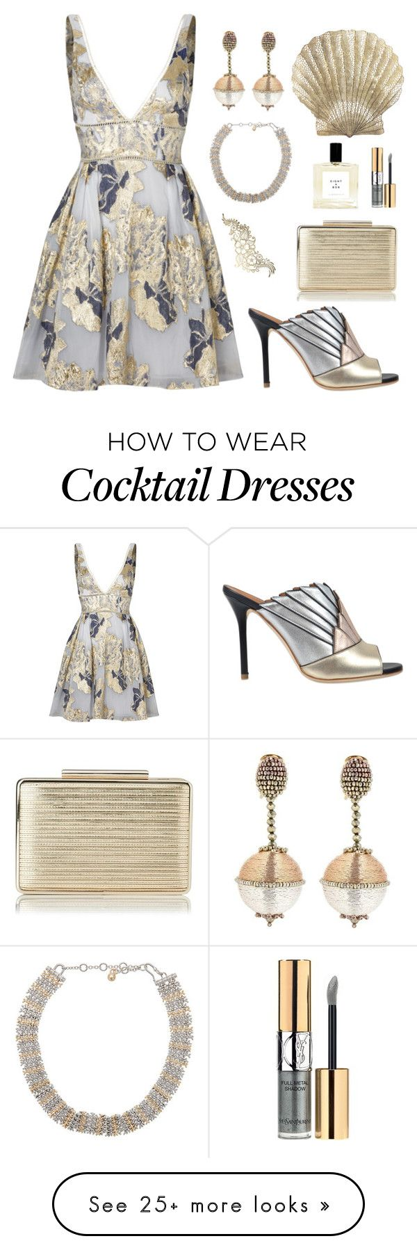 """metallic princess"" by youvegotraye on Polyvore featuring Notte by Marchesa, Benson Mills, Yves Saint Laurent, Malone Souliers, Oscar de la Renta, Eddie Borgo and L.K.Bennett"