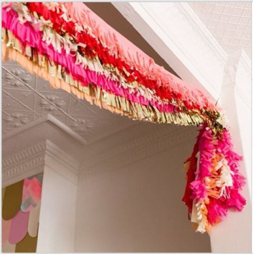 layers and layers of fringe garlands- perfect bridal showers and party decorations